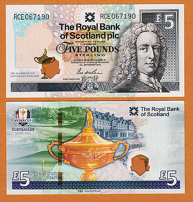 Scotland 2014 Ryder Cup Commemorative 5 Pounds Hybrid Plastic GEM UNC