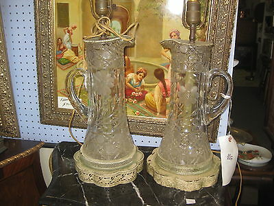 Pair of vintage crystal jars converted into electrical lamps, Europe