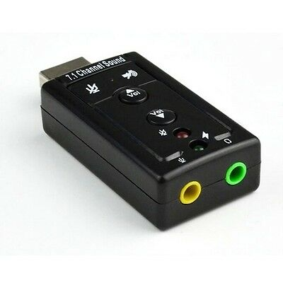New External USB 7.1 Channel 3D Audio Sound Card Adapter Black for PC Laptop UK