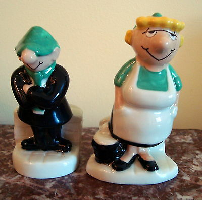 WADE POTTERIES England 1979 ANDY CAPP AND FLO Salt & Pepper Shakers MIRROR GROUP