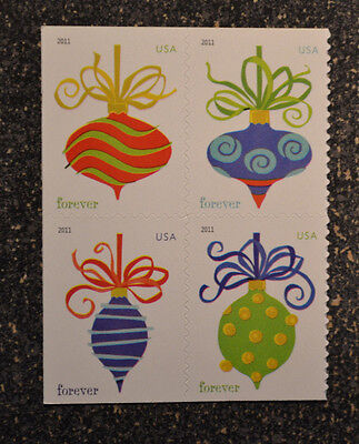 2011USA #4575-4578 Forever Holiday Baubles (SSP) Christmas Booklet Block of 4