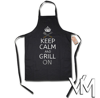 KEEP CALM AND GRILL ON Apron apron BBQ barbecuing Present Workwear