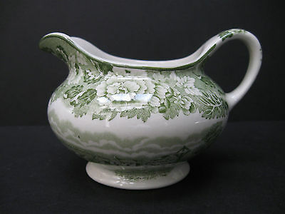 ENOCH WOOD & SONS WOODS WARE ENGLISH SCENERY TRANSFER WARE GREEN FLORAL CREAMER