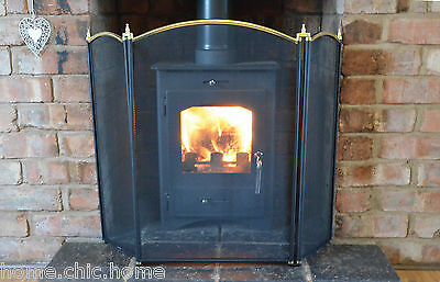 """Fire Guard 3 Fold Fire Screen Dynasty with Brass Top H26""""(66cm)"""
