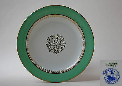 RAYNAUD&CO., LIMOGES, SIDE / BREAD PLATE, GREEN BAND WITH GILDING
