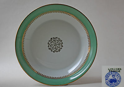 RAYNAUD&CO., LIMOGES, SOUP PLATE, GREEN BAND WITH GILDING