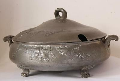 Antique Art Nouveau Jugendstil Covered Dish/Soup Bowl by Kayserzinn #4133 c.1900