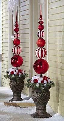 "Set of 2 Red & White 45"" Finial Stake Ball Ornament Christmas Outdoor Decor NEW"