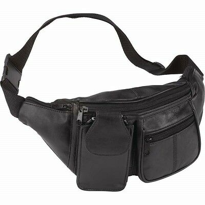 FANNY PACK Black Leather Waist Belt Bag Mens Womens Hip Travel Carry On Pouch