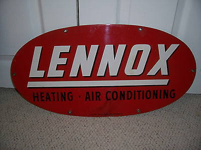 Vintage Lennox Heating & Air Conditioning Oval Metal Sign