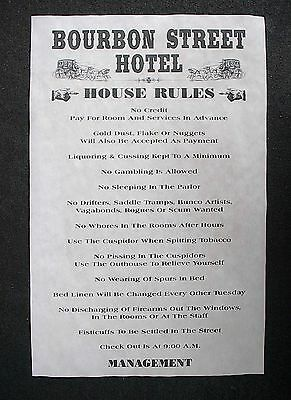"""OLD WEST BROTHEL RULES HITCHING POST PARLOR HOUSE POSTER 11/""""x17/"""" 452"""
