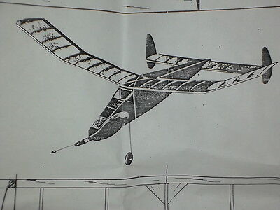 """PIRATE 31"""" CABIN 1947 MODEL AIR PLANE PLAN FOR RUBBER OLD TIMER"""
