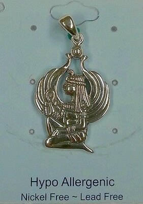 Egyptian Jewelry Goddess Isis Ancient Winged Mother Silver Pendant #WZTP1585