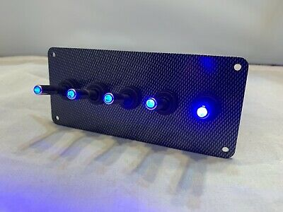 LED toggle switches - BLUE - w/  carbon fiber panel