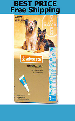 Advocate For Dogs 4-10kg Medium Dogs 3 Pack Flea and Lice Treatment EXP 11/2019