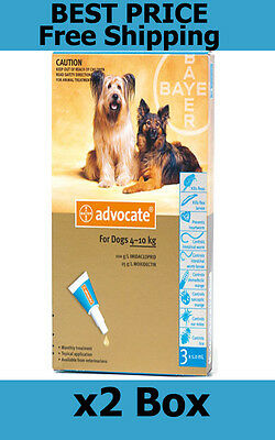 Advocate For Dogs 4-10kg Medium Dogs 6 Pack Flea and Lice Treatment EXP 10/2019