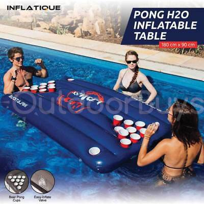 Pong H2O Inflatable Beer Pong Table - Blue Floating Pool Party Drinking Game