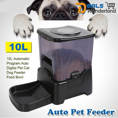 10L Automatic Program Auto Digital Pet Cat Dog Feeder Food Bowl Dispenser