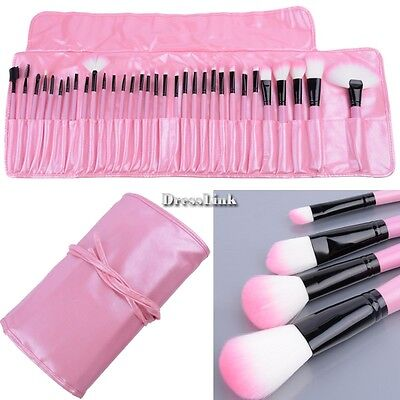 32 pennelli trucco Professionali Make Up Brush + Custodia Kit Rosa NEW DL0