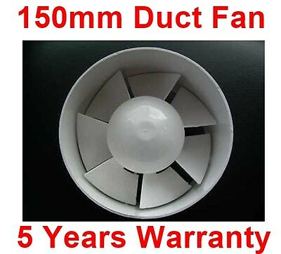 150mm In Line Duct Bathroom, Kitchen, Toilet Wet Room Extractor Silent Fan