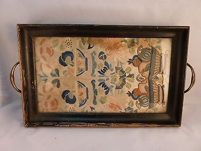 Antique Tray Inset Embroidery Under Glass Wood Frame Brass Handles Beautiful
