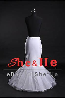 1-HOOP Fishtail Mermaid Wedding Ball Gown Crinoline Petticoats Prom Bridal Slips