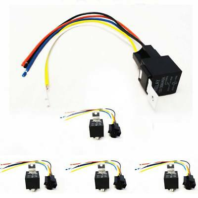 LOT 5 Car Truck 12V-A 12V Volt DC 40A Relay & Socket SPDT 5Pin With Wire