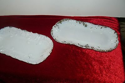 Twin Vintage Victorian Milk Glass Dresser Trays  c.1800-1900 His-Hers Oval Shape