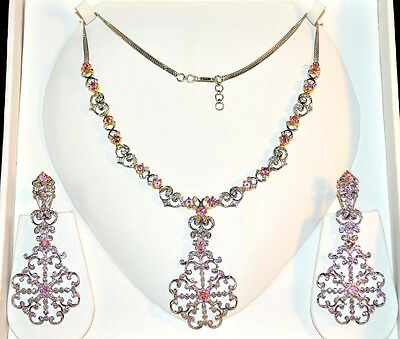 Certified Natural 13Ct Vs G Diamond Pink Sapphire 18K Gold Necklace Earrings Set