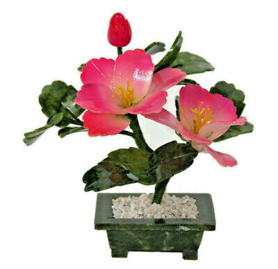 Glass Flowering Bonsai Tree Two Flowers Pink Chinese Feng Shui