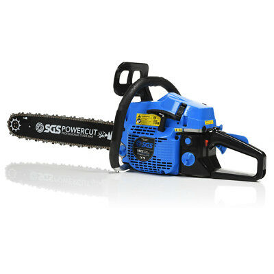 """58cc 20"""" Petrol Chainsaw: 2x Saw Chains & Carry Case. Easy Start, NGK Spark Plug"""