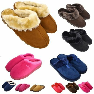 Ladies Womens Faux Fur Suede Ankle Bootie Mule Slippers Slip On Shoes UK 3-8