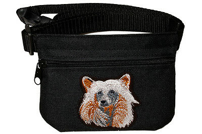 Chinese Crested embroidered Dog treat bag / pouch for dog show,training, walking