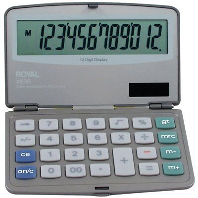 Royal XE36 Calculator 12 Digit Extra Large Display Solar & Battery Power