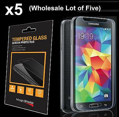 5x Wholesale Lot Tempered Glass Screen Protector for Samsung Galaxy S5 Retail