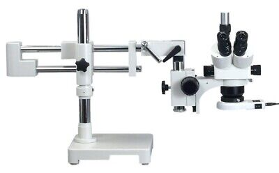 Stereo Zoom Trinocular Microscope 5X-80X with Boom Stand +54 LED Light