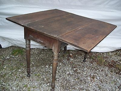 Antique Farm Table with Drop Down Leaves