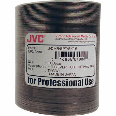 JVC (Taiyo Yuden) 100 pack DVD-R 16x 4.7GB Silver Thermal Print for Rimage TEAC