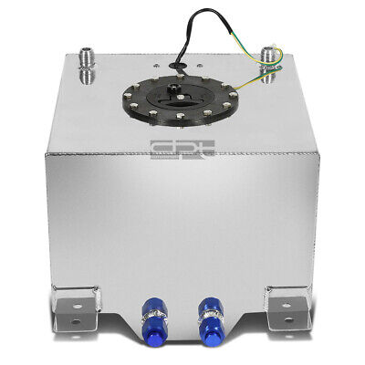 5 Gallon Lightweight Polished Aluminum Race Drift Fuel Cell Tank+Level Sender