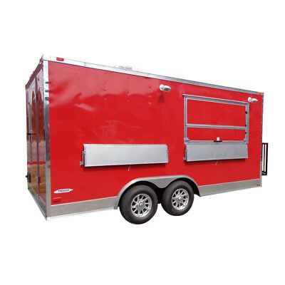Concession Trailer 8.5'x16' Red - Custom Food Catering Event
