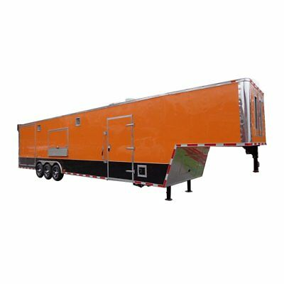 Concession Trailer 8.5'x40' Gooseneck Catering BBQ Smoker Food (Orange)
