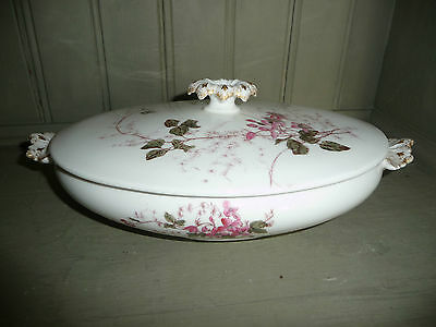 Beautiful Floral Limoges G D & Cie Oval Lidded Tureen With Flower Handle