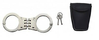 Nickel Tactical Police & Security Deluxe Hinged Law Enforcement Handcuffs 30093