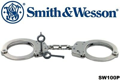 Handcuffs Smith & Wesson Model 100P Push-Pin Satin Nickel Handcuffs SW100P 10095