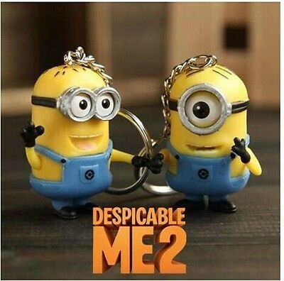 new 2pcs Despicable Me Minion Toy Rubber KeyChain 3D Eyes