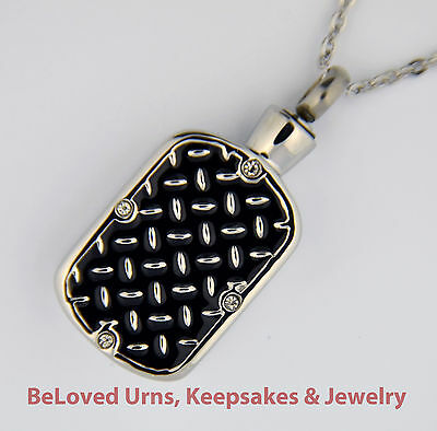 Diamond Plate Cremation Jewelry Pendant Urn Keepsake Memorial w/ Necklace-Funnel