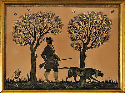 Pair of black paper silhouette cutouts c1850s gilt border [Hunter, Hound, Hares]