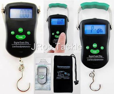 25kg DIGITAL FISHING SCALE + LINE FORCE DYNAMOMETER Test TRUE line STRENGTH +BAG
