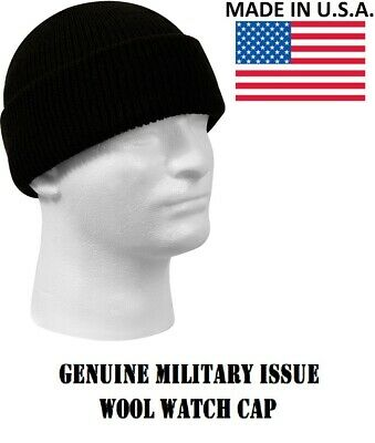 Black Military Issue Wool Watch Cap 100% Wool Skiing Beanie Hat Rothco 8492