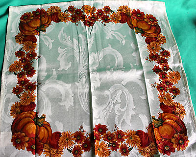 Harvest Flower Pumpkin Fall Thanksgiving Dinner Napkins Set 4 New